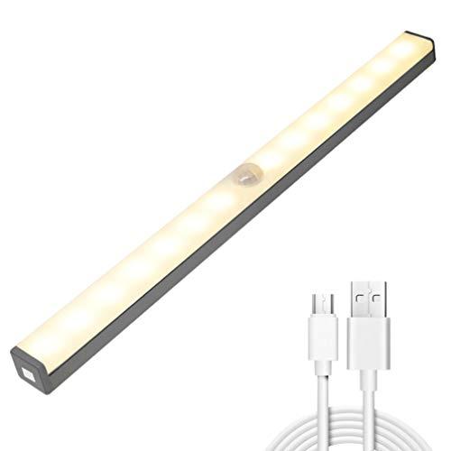OSALADI Sensor de Movimiento Luz de Armario Tira Led Luces de Armario Luz de Mesita de Noche para Baño Armario de Cocina Escaleras Iluminación USB Recargable Luz Amarilla Cálida