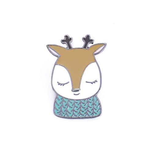 Xpccj Brooch Cute Cartoon Animal Badges for Women Creative Fox Rabbit Bear Deer Jewelry Enamel Pin Denim Jackets Collar Brooch Pins Button Badges (Color : 3, Size : Normal)