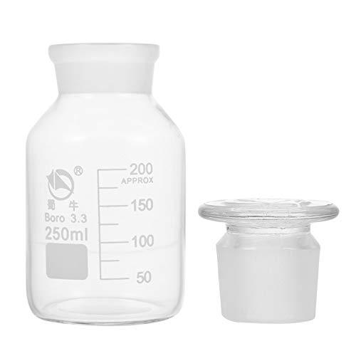 iplusmile Botella de Reactivo de Laboratorio de Vidrio Botella de Reactivo a Prueba de Fugas con Tapa de Rosca Botella de Agente Químico de Laboratorio a Prueba de Fugas Contenedores de