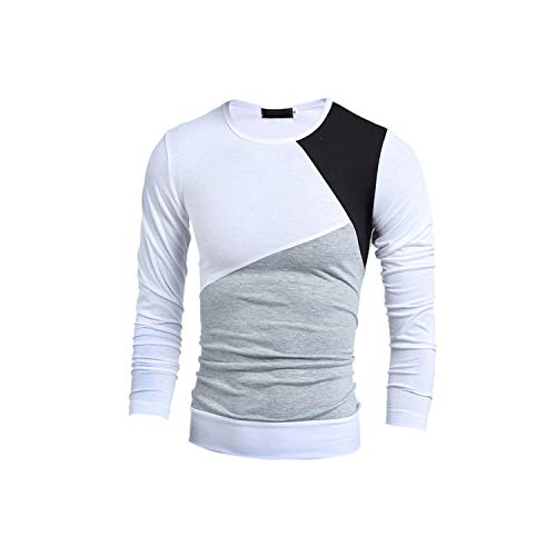 Spring Autumn Men Casual Long Sleeve Sweatshirt Pullover Sportswear Top Clothing,White,M