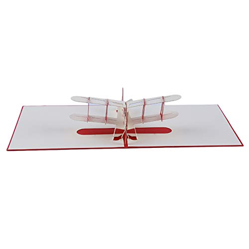 Bigsweety Geburtstagskarte 3D Handgemachte Flugzeuge Grußkarten Mit Umschläge DIY Postkarten (Rot)