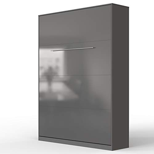 SMARTBett Standard 140x200cm Vertical Anthracite/Anthracite Brillant Confort   Lit Escamotable, Lit Mural, Lit Rabattable, Lit Pliant, Lit Armoire, Lit Pliable