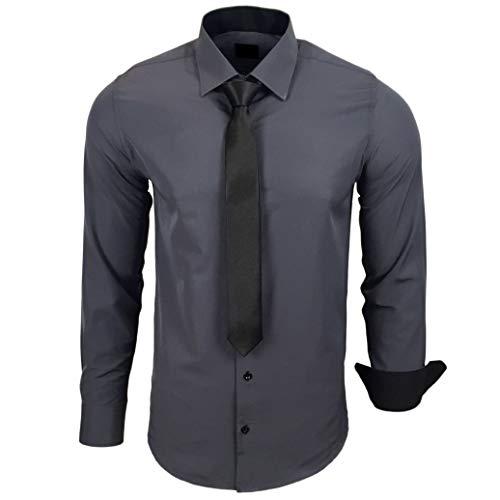 Baxboy 444-BK Herren Kontrast Hemd Business Hemden mit Krawatte Hochzeit Freizeit Fit, Größe:L, Farbe:Anthrazit