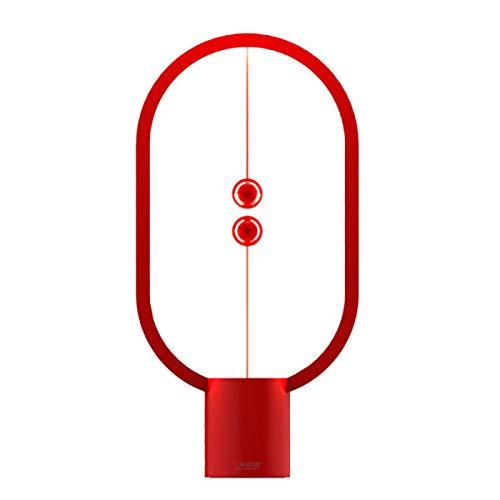 Timagebreze LáMpara de Mesa LED de Equilibrio Recargable USB Elipse Interruptor MagnéTico en el Aire Luz Nocturna para el Cuidado de los Ojos Luz de Control de PresióN - Rojo