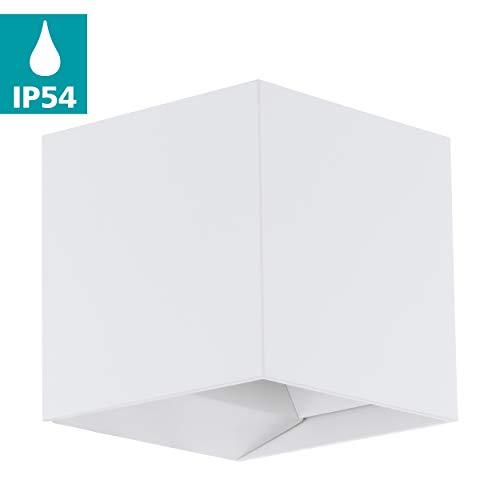 EGLO LED Außen-Wandlampe Calpino, 2 flammige Außenleuchte, Wandleuchte aus Alu, Farbe: Weiß, IP54