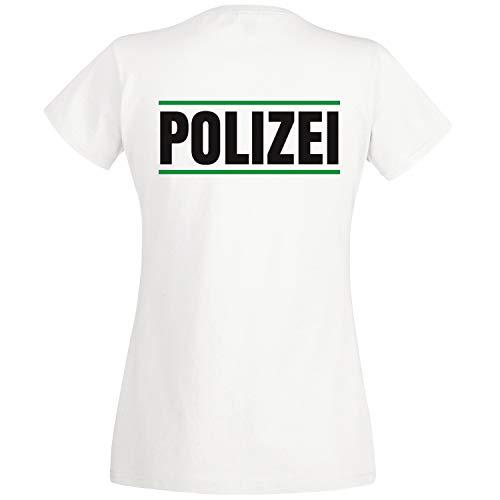Shirt-Panda Damen Polizei T-Shirt Druck mit Streifen Brust & Rücken Weiß (Druck Grün) M