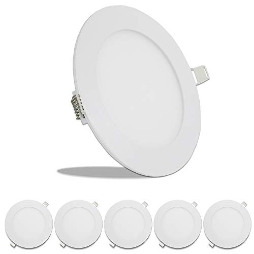"5 Pack Leisure LED RV Boat Recessed Ceiling Light 720 Lumen Super Slim LED Panel Light DC 12V 5.75"" 9W Full Aluminum Downlights (Cool White)"