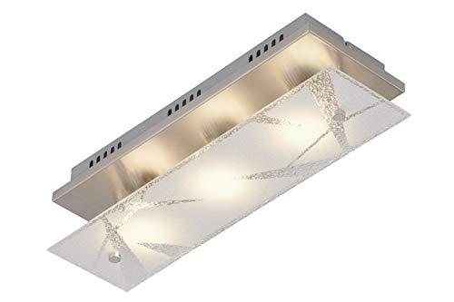 Briloner Leuchten - LED Deckenleuchte, Deckenlampe 3-flammig, inkl. Kristalle, GU10, 4 Watt, 400 Lumen, 3000 Kelvin, Matt-Nickel