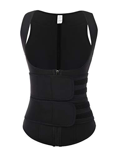 Wonder-Beauty Women Sauna Sweat Waist Trainer Vest with Zipper for Weight Loss Body Shaper Tank Top Black M