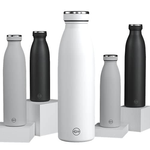 GH Botella de Agua acero Inoxidable 500ml Esencia Blanca | Frasco de Agua de Metal Reutilizable | Botella Termica Doble pared al vacío | Botella de bebida reutilizable Sin BPA, Antigoteo y Fugas