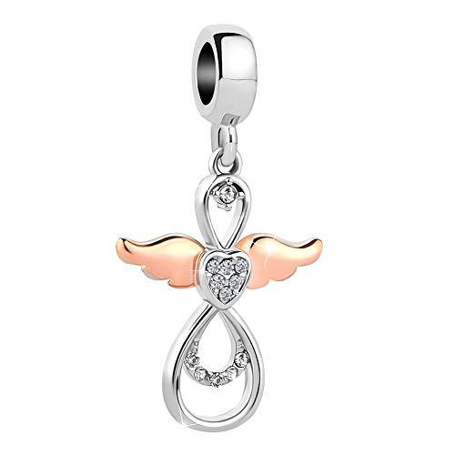 Sug Jasmin Rose Gold Angel Wing Charms Guardian Angel Beads Fits European Charm Bracelet (White)