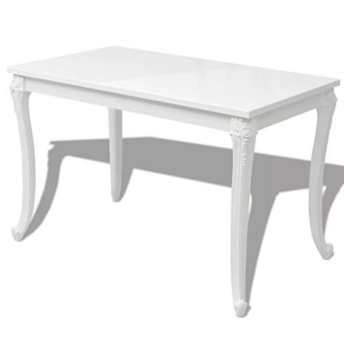 Festnight Rechteckig Tisch Esstisch Esszimmertisch Küchentisch 116 x 66 x 76 cm für Küche oder Esszimmer - Hochglanz-Weiß