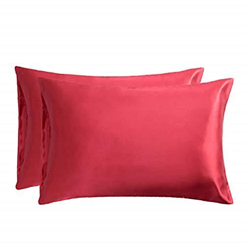 Bedsure Funda Almohada 50x75cm Satén Rojo - Juego de 2 Fundas Almohadas 75x50 Pelo Rizado, Muy Liso Suave de 100%...