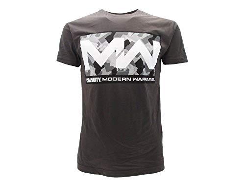 Call of Duty T Shirt Ufficiale Modern Warfare. Maglietta Modello Camo Box. Colore Grigio con Stampa Frontale Camo. (S)