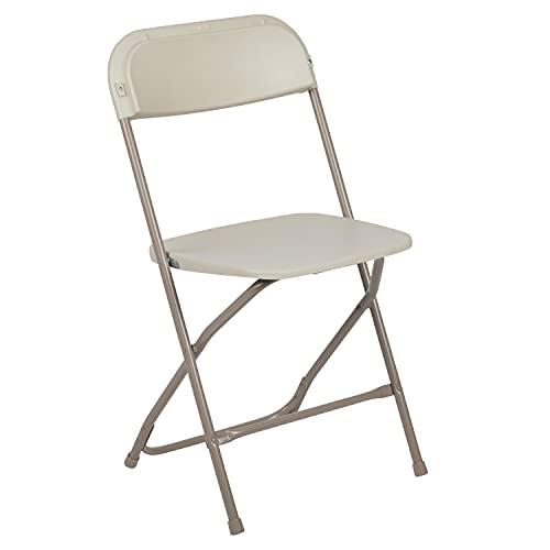 Flash Furniture Hercules Series Plastic Folding Chair - Beige - 650LB Weight Capacity Comfortable Event Chair - Lightweight Folding Chair