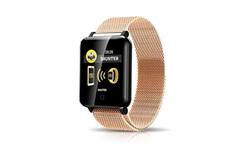 KawKaw M19 Edelstahl Smartwatch mit Armband wahlweise aus Edelstahl unterstützt 8 Verschiedene Trainingsmodi, wie Gehen, Laufen, Fahrradfahren, Schwimmen, u.s.w. (Goldenes Edelstahlarmband)
