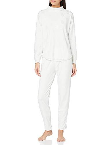 Women' Secret Pijama Largo Velour Brillo Juego, Estampado Gris, L (Pack de 2) para Mujer