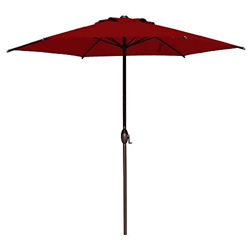 Abba Patio 9ft Patio Umbrella Outdoor Umbrella Patio Market Table Umbrella with Push Button Tilt and Crank for Garden, Lawn, Deck, Backyard & Pool, Dark Red