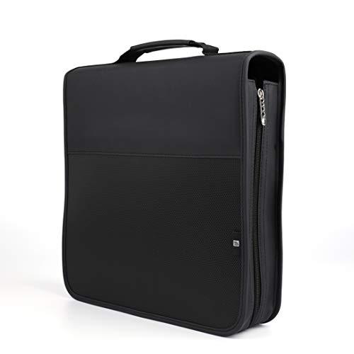 Fasmov 160 Removable Disc CD/DVD Binder DVD Wallet Case Using Metal Ring Binder, Black