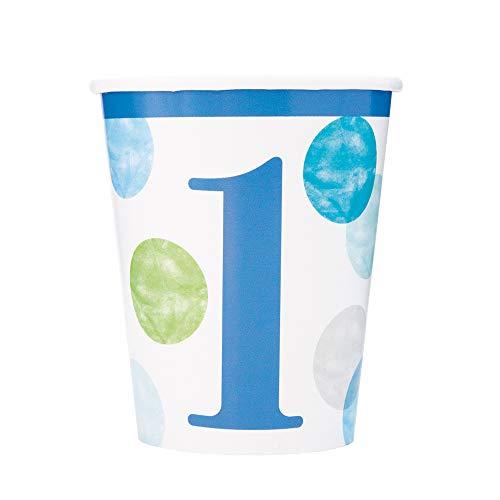 Unique Party- Vasos de papel, Color azul (73306)