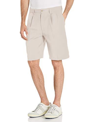 PGA TOUR Men's Double Pleat Expandable Golf Short, Silver Cloud, 34