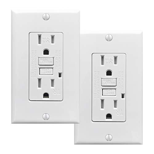 PROCURU 2-Pack Tamper Resistant Self-Test GFCI Receptacle Outlet with LED Indicator with Wall Plate and Screws, White - UL Listed (2-Pack, 15 Amp)