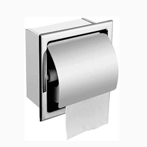 Toiletpapierhouder Ponsvrije rolhouder, met plank, aan de muur gemonteerd, roestvrijstalen wc-wand-gemonteerde doos die garandeert roestvrije duurzaamheid