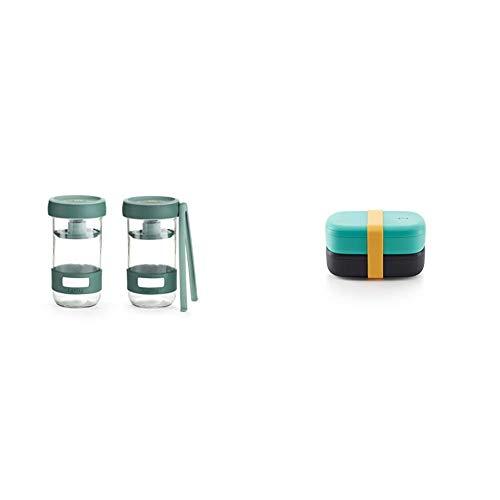 Lékué Kit de Utensilios para Preparar encurtidos caseros con Recipiente de Capacidad 700 ml + LunchBox To Go - Recipiente hermético para transportar y conservar alimentos, Polipropileno, Turquesa