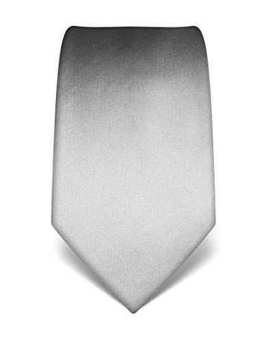 Vincenzo Boretti Herren Krawatte reine Seide uni einfarbig edel Männer-Design zum Hemd mit Anzug für Business Hochzeit 8 cm schmal/breit hellgrau
