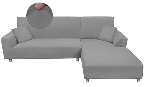 Taiyang Funda para sofá en Forma de L, 1 Pieza Funda para Sofá 3 Plazas (Fundas para Sofa Chaise Longue Necesita Dos), Tela Elástica y con 1 Fundas de Almohada (3 Plazas :170-230 cm, Gris Claro)