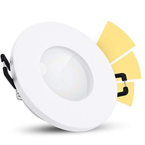 linovum ISAWO Einbau Badleuchte LED IP65 mit fourSTEP Dimmen ohne Dimmer - LED GU10 5W warmweiß 230V - Downlight Bad weiß rund