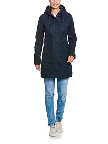 Tatonka Vinjo W's Hooded Coat - Kurzmantel mit Kapuze - Größe 46 - figurbetont und aus PFC-freiem Baumwollmischgewebe - Regular Fit - dunkelblau