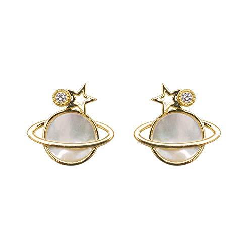Ohrringe 925 Silbernadel Ohrringe Runde Ohren Runde Saturn Diamant Ohrringe Damenaccessoires 1,4 * 1,4 cm