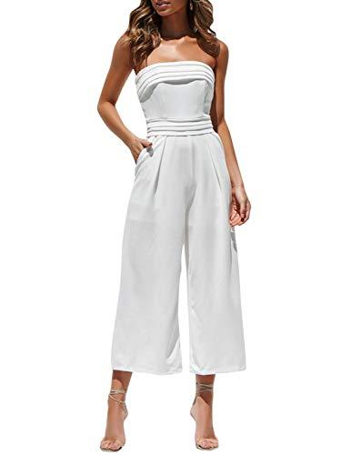 BerryGo Women's Sexy Off Shoulder Wide Leg Jumpsuit Sleeveless Long Pants Romper White-S