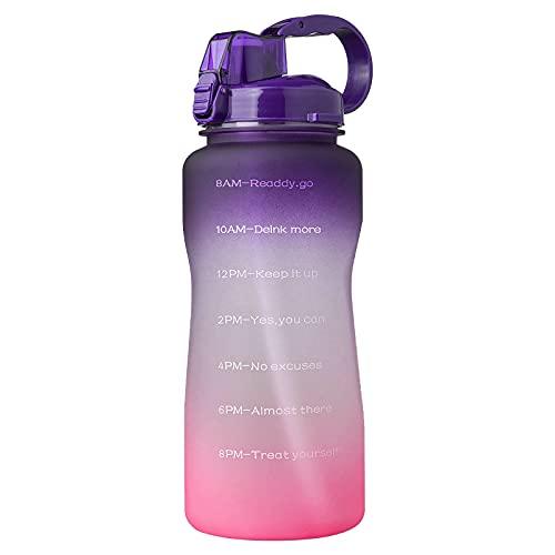 Jodimitty Botella de agua con pajita y asa, botellas de agua a prueba de fugas, sin BPA, cierre de 1 clic, gran jarra de agua deportiva para gimnasio, viajes y exteriores (fucsia, 2 L)