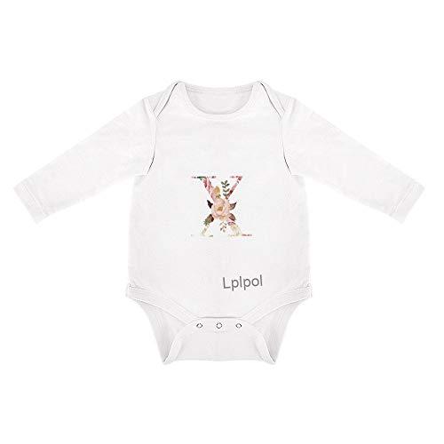 Lplpol Floral Monograma Iniciales Bebé Algodón Blanco Manga Larga Mono Mono para Unisex Bebé Niños Niñas Fav106 - - 3-6 meses