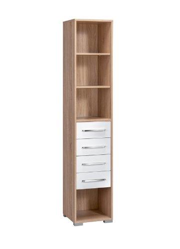 MAJA-Möbel 1230 2556 Aktenregal mit 4 Schubladen, Sonoma-Eiche-Nachbildung, Abmessungen BxHxT: 42,1 x 214,5 x 40 cm