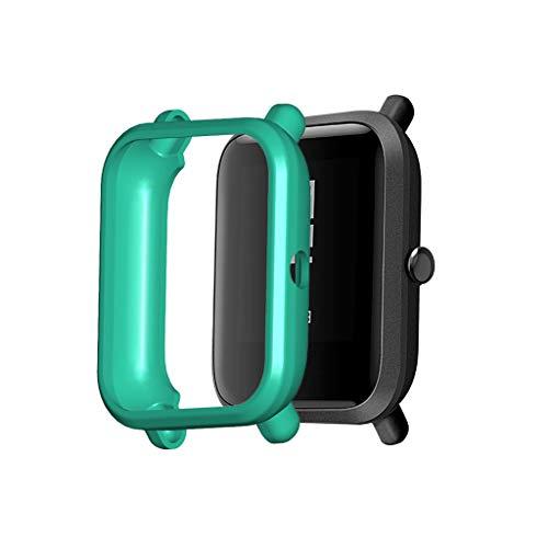 Kompatibel für Xiaomi Huami Amazfit Bip Youth/Lite Watch Schutzfolie Schutzhülle, TPU Hülle Stoßfeste Abdeckung Anti Scratch Schutzhülle Smart-Watch Case Cover Schutz (Mintgrün)