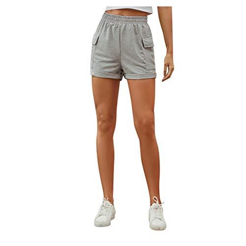 MomTop - Pantalones cortos para mujer, de cintura alta, pantalones cortos, pantalones cortos con bolsillo de verano, rectos, pantalones cortos de playa Gris gris S