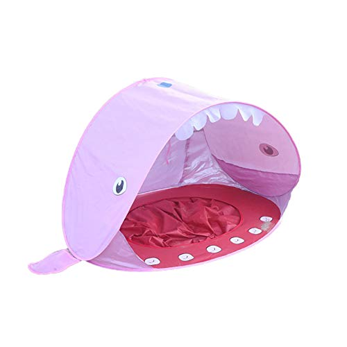 KINGBOO Pop Up Baby Beach Tent Portable Kids Sun Shelter with Beach Pool Instant Pop Up Sun Tent Whale Pink