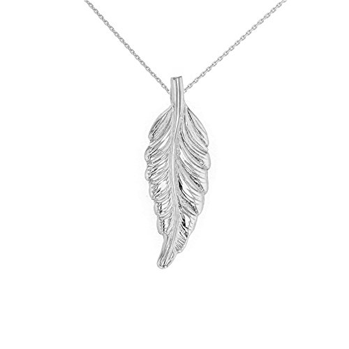 925 Sterling Silver Bohemia Leaf Feather Pendant Necklace, 18'