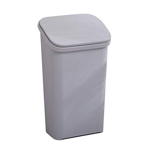 YIFEI2013-SHOP Papelera de cocina grande, bote de basura de plástico con tapa, estilo nórdico, elegante hogar para cocina, sala de estar, oficina, papelera (color: gris, tamaño: S)