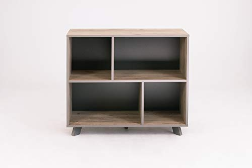HOMEXPERTS Regal BASTI Office / Graue Eichen-Optik mit Kanten in Anthrazit / Rückwand Anthrazit / Sideboard / Bücherregal / Schrank / Wandregal / Regalwand / Büroschrank / 90 x 79 x 35 cm (BxHxT)
