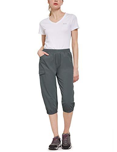 BALEAF Women's UPF 50+ Hiking Capris Pants Lightweight Athletic Joggers Capri Pants Deep Gray S