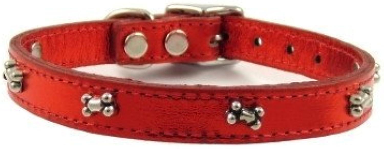 Bones Leather Dog Collar by Furry (Metallic Red, 14 )
