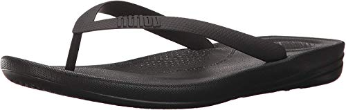 FitFlop Men's IQUSHION Ergonomic FLIP-Flops, Black, 9 M US