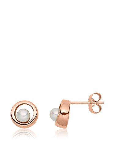 Heideman Ohrringe Damen Kreis Perlohrstecker aus Edelstahl rosegold farbend matt Ohrstecker für Frauen mit Swarovski Perle weiss rund 6mm