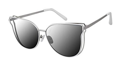 Rocawear Damen R671 Slvwh Sonnenbrille, silberfarben/weiß