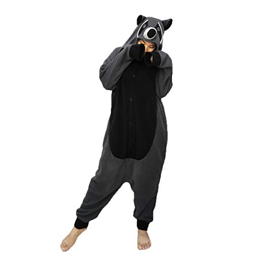 FORLADY Unisex Animal Onesie Raccoon Cosplay Disfraz Adulto Pijamas de Halloween