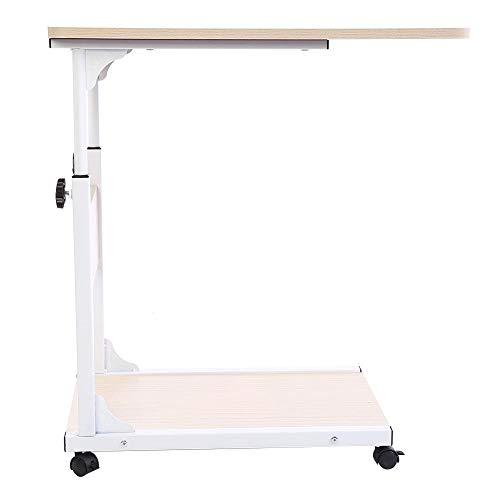 Mesita de cama ajustable, mesa para ordenador con ruedas, mesa de café, mesa de escritorio, de MDF y metal, altura ajustable (blanco)